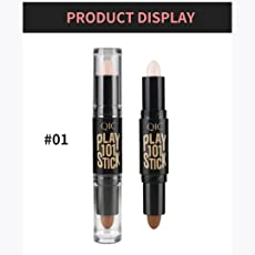 Hunputa Makeup Creamy Double Ended 2 In1 Contour Stick Contouring Highlighter Bronzer Create 3D Face Concealer Full Cover Blemish A