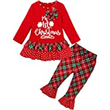 1-7 Años,SO-buts Bebé Niñas Manga Larga Carta Navidad Plaid Volantes Vestido Pantalones Otoño Invierno Pijamas Trajes