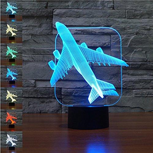 Base Rote Lampe (Flugzeug Geschenk Nachtlicht 3D neben Tischlampe Illusion, Jawell 7 Farben ändern Touch Switch Schreibtisch Dekoration Lampen Geburtstag Weihnachtsgeschenk mit Acryl Flat & ABS Base & USB Kabel)