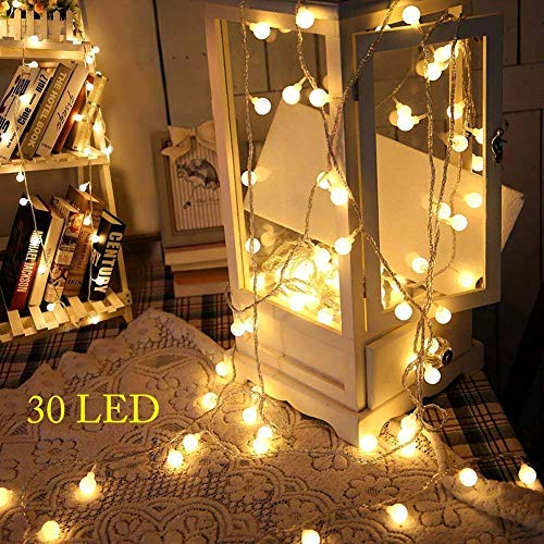 3M 30 LED Globe Lichterkette,3AA Batteriebetrieben,Kugel String Licht,Dekoration für Weihnachten,Hochzeit,Party,Zuhause sowie Garten,Balkon,Terrasse,Fenster,Treppe,Bar(Warmweiß) ... ()