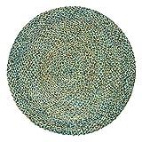 Handgefertigte geflochtene runde Naturfaser Jute Teppich, natur (150 cm Durchmesser, Spectrum turquoise)