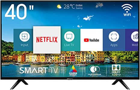 """Hisense H40BE5500 Smart TV LED FULL HD 40"""", USB Media Player, Tuner DVB-T2/S2 HEVC Main10 [Esclusiva Amazon - 2019]"""