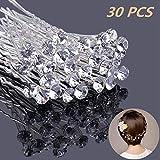 Haarnadeln mit Kristall für Hochzeit Braut Haarschmuck, U-förmig Strass Haarnadel für Kommunion Party,30 Stück Haarspange Für Frauen und Mädchen