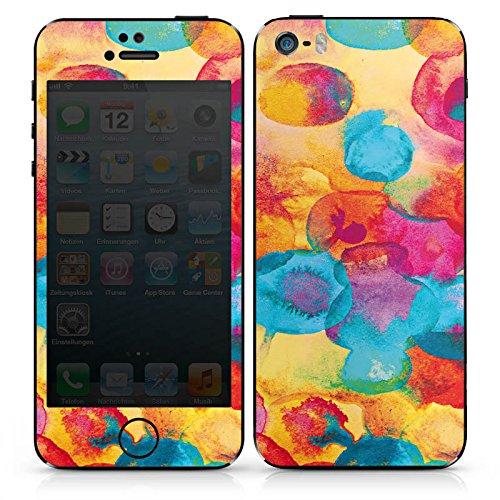 Apple iPhone SE Case Skin Sticker aus Vinyl-Folie Aufkleber Wasserfarbe Blumen Muster DesignSkins® glänzend