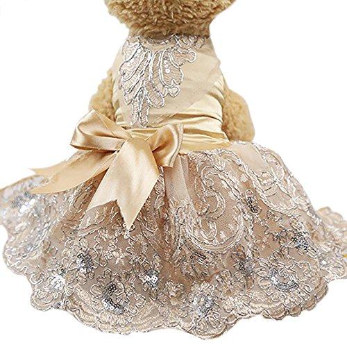 Doublehero Hundebekleidung,Hund Katze Puppy Prinzessin Kleidung Modischer Pailletten Spitze bestickt Hund Kleid Prinzessin Hochzeit Kleider Kostüme Kleidung Kleidung