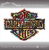 2 ADESIVI STICKERS BOMB BAR AND SHIELD HARLEY DAVIDSON SERBATOIO CASCO MOTO CUSTOM (12 cm x 9 cm)
