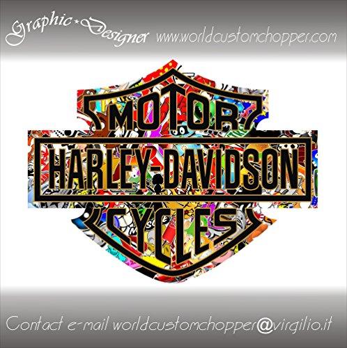2 ADESIVI STICKERS BOMB BAR AND SHIELD HARLEY DAVIDSON SERBATOIO CASCO MOTO CUSTOM (10 cm x 8 cm)