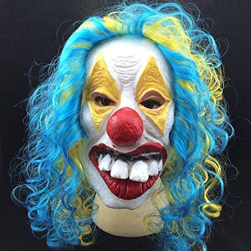 Imagen de una pieza halloween máscara de payaso para hombre máscara de látex de máscara de horror scary para adulto disfraz cosplay decoraciones con rojo globo alternativa