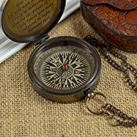 """Calyron Brass 2.75"""" Pocket Magnetic Compass with Chain Nautical Boat Decor Antique Steampunk Style Engraved Gifts Directional Pirate Hiking Travel Camping Compass"""