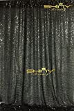 ShinyBeauty 180x215cm Schwarz Pailletten Kulissen-Pailletten Vorhang Schwarz 6FTx7FT, Schwarz Pailletten Stoff, Stoff Hintergründe, Hochzeit Pailletten Vorhänge, Pailletten-Panels, erröten Home Decor (180x215cm, Schwarz)