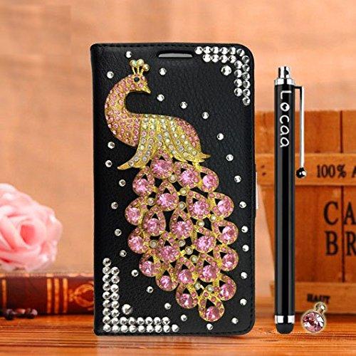 """Locaa(TM) For Apple IPhone 6S Plus 6S IPhone6S+ 5.5"""" 3D Bling Paon Case Coque Fait filles Cuir Qualité Housse Chocs Étui Couverture Protection Cover Shell Romantique [Paon 2] Blanc - Paon Perle Noir - Paon Rose clair"""