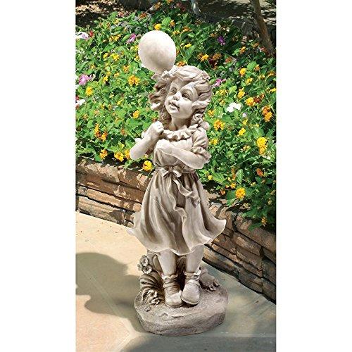 Design Toscano SH381029 Statue de Jessie/Son Ballon, Blanc Cassé, 18 x 18 x 52 cm
