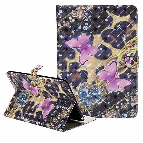 Neuf iPad 9.7 Pouce 2018 2017 Coque Ultra Svelte Bling Coloré 3D Modèle PU Cuir Coque Portefeuille Stand Protecteur Étui avec Réveil/Sommeil Automatique pour Apple iPad 9.7 2018 2017,Rose Papillon