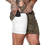 Ultra Dry - Pantaloncini da corsa 2 in 1 da uomo, con tasca per telefono ad asciugatura rapida