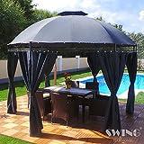Swing & Harmonie LED - Pavillon 350cm Lavo - mit Seitenwänden und LED Beleuchtung + Solarmodul Runder Gartenpavillon Partyzelt Gartenzelt Rund (anthrazit)