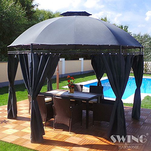 Swing & Harmonie LED - Pavillon 350cm Lavo - mit Seitenwänden und LED Beleuchtung + Solarmodul...