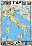 Italia mapa–Ilustrado con fotos de puntos de interés: Una muestra de ciudades ciudades y carreteras–ideal para escuelas o Home–LAMINADO de papel–59,4x 84,1cm (A1)