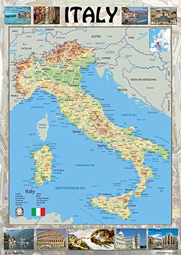Italia mappa illustrata–con immagini di punti di interesse–mostrando città città e strade–ideale per scuole o a casa–Carta laminata–59.4x 84.1centimetres (A1)
