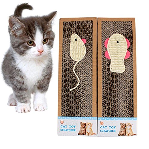 Scratch Mat Corrugated Paper Cat Scratch Board Cat Scratching Pad Sisal Bait Claws Care Toys Random Pattern Delivery ()