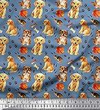 Soimoi Blau Viskose Chiffon Stoff Fußabdruck, Hund & Katze