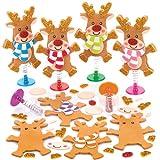 """Bastelsets """"Rentier"""" mit Hüpffunktion für Kinder als Bastel- und Deko-Idee zu Weihnachten für Jungen und Mädchen (6 Stück)"""
