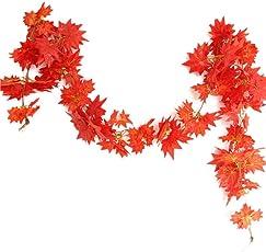 Herbst-Girlande /Ahorn-Blättern,2M Künstliche Ahornblätter Garland Hängen mit Reben Maple Rattan Zäune Windows Wall Stairway Hängen Thanksgiving Halloween Kürbisse Chirstmas Hochzeitsdekoration