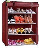 Flipzon Premium 4-Tiers Shoe Rack/Multipurpose Storage Rack with Dustproof Cover (Maroon)