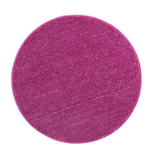 andiamo Microfaser Badteppich Größen-Oeko-Tex 100-Badvorleger rund Badematte, Polyester, lila, 80x80 cm