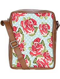 Snoogg Beautiful Seamless Rose Pattern With Blue Polka Dot Background Sling Bags Crossbody Backpack Chest Daypack...