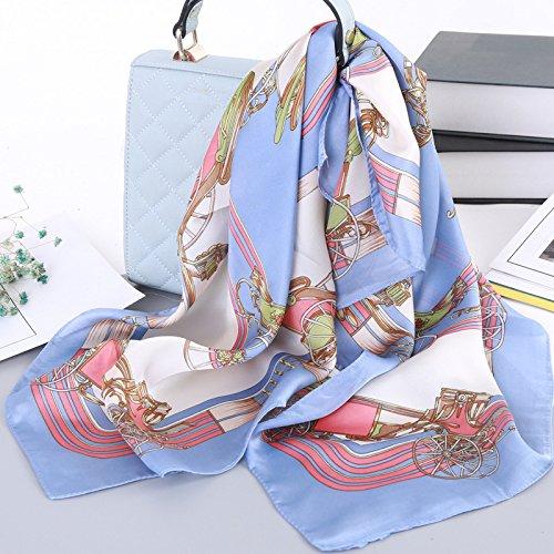 Stilvolle Seidenschal Satin Party Servietten weiblichen Ultra-in Einem floralen Seidenschal und vielseitig, dekorative Seidenschal eingerichtet, hellblau
