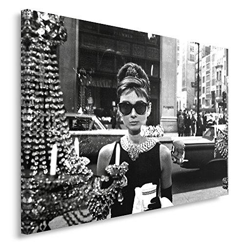 Feeby Frames, Quadro pannelli, Pannello singolo, Quadro su tela, Stampa artistica, Canvas 60x80 cm, AUDREY HEPBURN, COLAZIONE DA TIFFANY, GLAMOUR, BIANCO E NERO, GIOIELLI