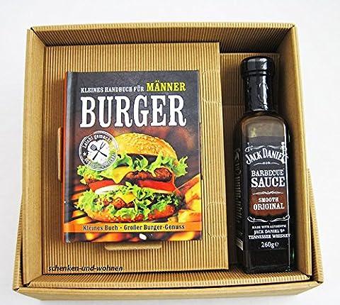 Burger Handbuch Männer Burger Buch mit Jack Daniel's BBQ Sauce im Geschenk Set (Burger Bar)