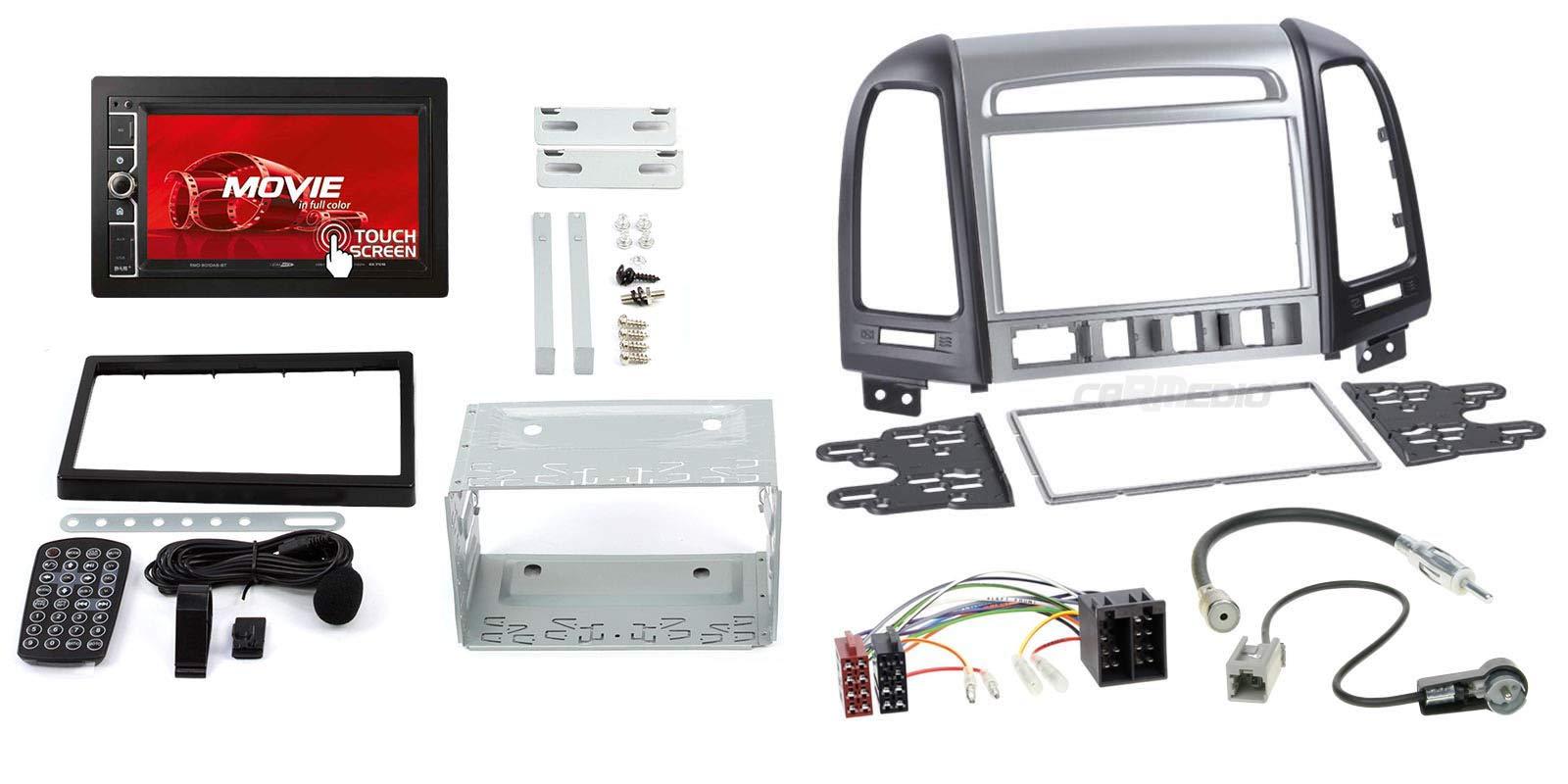 Hyundai-Santa-Fe-cm-ab-11-2-DIN-Autoradio-62-Touchscreen-und-Einbauset-in-original-PlugPlay-Qualitt-mit-Antennenadapter-Radioanschlusskabel-Zubehr-und-Radioblende-Einbaurahmen-schwarz-Silber