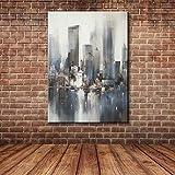 IPLST@ Imagen abstracta moderna de la pared del edificio de la ciudad, pintura al óleo pintada a mano de la lona para las etiquetas caseras -24x36inch (ningunos marco, sin camilla)
