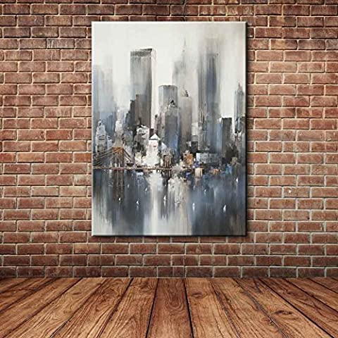 IPLST@ Modern Abstract City Building Wall Picture , Hand Painted Canvas Art Oil Painting for Home Decals -24x36inch ( No frame ,without stretcher)