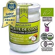 Aceite de Coco Orgánico Virgen Extra 500 ml Naturseed, GRATIS Ebook. Extracción en frío, fuente de energía natural, para deportistas, pérdida de peso, suplemento alimenticio, para cocinar, como crema hidratante para ti y tu bebe, para el pelo, para los dientes, también para tu perro y gato.
