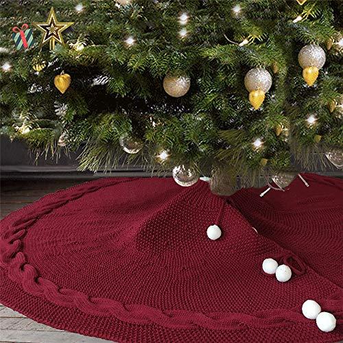 Odot Weihnachtsbaum Rock Dekoration, Decke Weinachtsdeko 120cm Rund Weihnachtsbaumdecke Weihnachtsbaum Röcke Ornaments für Weihnachten Baum Rock Deko Schutz (120cm,Rot)
