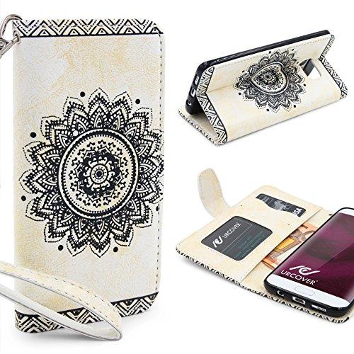 Urcover® Kompatibel mit Samsung Galaxy S7 Edge Handy Schutz-Hülle | Lotus Pattern Wallet Weiß | Kartenfach & Standfunktion | Flip Case | Trendy Tasche | Cover Schale | Smartphone Zubehör A-la-carte-schalen