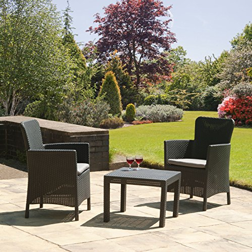 Keter Trenton Outdoor Garden Furniture Chair - Cappuccino with Sand Cushion