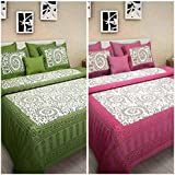 Jaipur Prints Cotton Combo Bed Sheet Combo Set Of 2 Double Bedsheet With 4 Pillow Covers