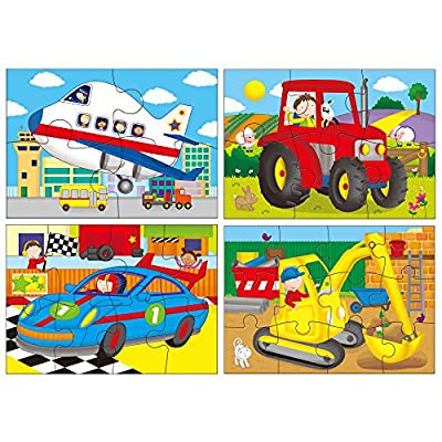 Galt Toys Vehicles 4 Puzzles in a Box