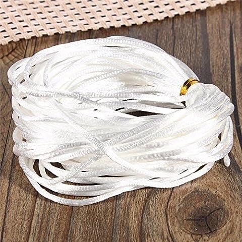 Nueva Hermosa 10m multicolor del satén sedoso Rattail del trenzado del cable de cuerda de 2 mm nudo pulsera de cadena del collar hecho a mano del hilo de coser