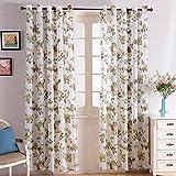 Top Finel Transparente Blumen Muster Schlaufenschal Gardine Für Wohnzimmer,140x245(W x H), Braun ein Stück