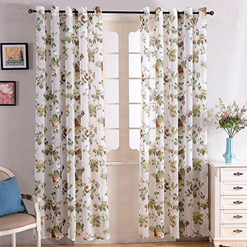 Top Finel Transparente Blumen Muster Schlaufenschal Gardine Für Wohnzimmer,140x215(W x H), Braun ein Stück