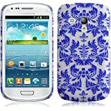 JAMMYLIZARD | Damast- Motiv Back Cover Hülle für Samsung Galaxy S3 Mini, BLAU