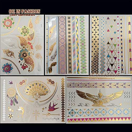 Gold 5pcs / Lot und Silber färbten Metalltätowierungsaufkleber metallische indische arabische Juwel Choker Tatoos Stammes- Fleischblätter - Tattoos Juwelen