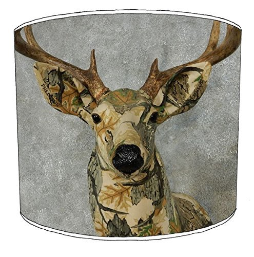 8 Inch Table stag deer print lampshade 9 by Premier Lampshades (Weiße Shade Zylinder)