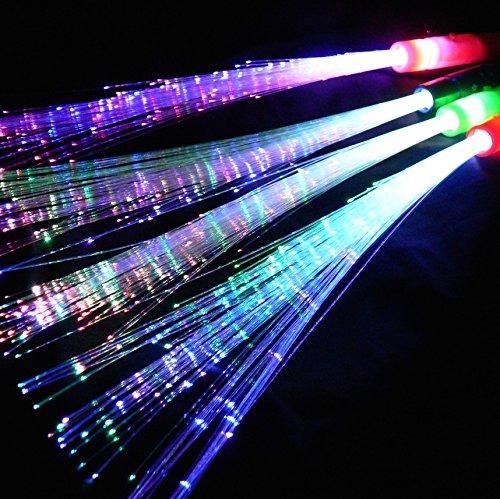 Eventlights Leuchtwedel multicolor 12 Stk. - Leuchtstab mit Glasfaserfäden - Party, Disko, - Led Licht Glow Stick Kostüm