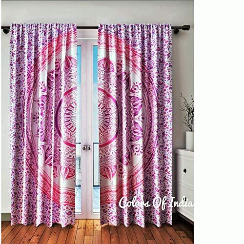 Pink Curtains, Boho Chic Decor, Ombre Curtains (Print-panel Vorhänge)