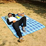 WolfWise 200 x 150cm XXL Picknickdecke, Wasserdichte Campingdecke Stranddecke Outdoordecke, aus Weiches Fleece mit Tragegriff, Waschbar und Sandfrei, Blau Karo